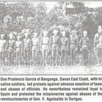 """Photo source: Mr. Ernesto I. Corcino Late 19th century photo of a Visayan militia in Mindanao. Such military unit was used by the Spanish colonial government to fight the """"Moros"""" of the South. Photo taken from Frederic H. Sawyer's book-"""" Inhabitants of the Philippines"""". Notice the discrepancy on the height of this men. While the officer named Lt.Prudencio Garcia is obvious with his size and bulk, one sees the dwarfish figure of the other men. This led Sawyer to comment; """"The illustration shows a party of Visayas militia belonging to the town of Baganga, in Caraga, under a native officer of gigantic stature, Lieutenant Don Prudencio Garcia."""""""